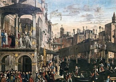 Miracle de la relique de la Croix au pont du Rialto par Vittore Carpaccio. Tempera sur toile, collection Gallerie dell'Accademia de Venise.