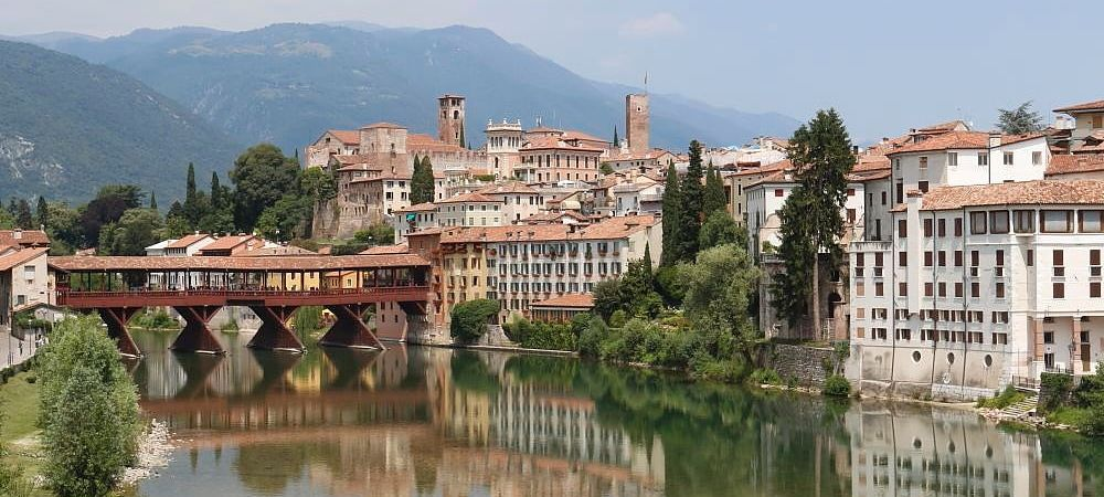 Bassano del Grappa and the river Brenta, Veneto region, Italy