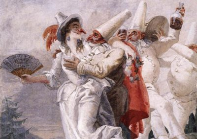 Pulcinella in love, 1797 Detached fresco