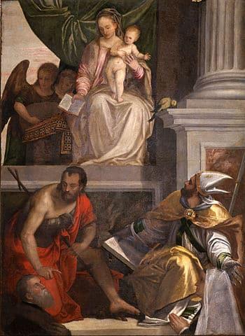 Vierge à l'enfant au trône, saints, donateurs