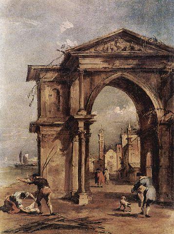 Capriccio with a triumphal arch