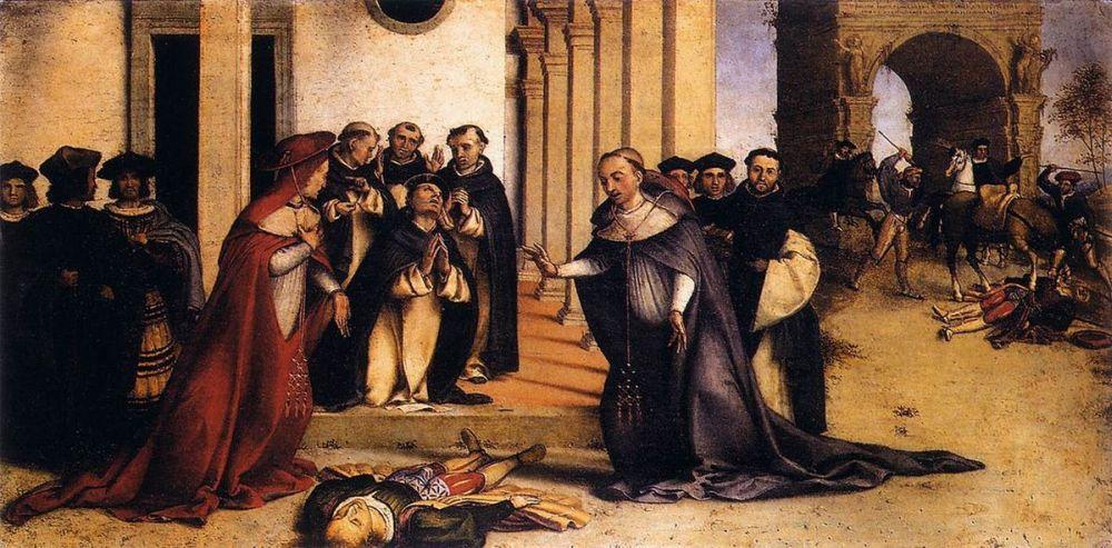 Lorenzo Lotto, St Dominic Raises Napoleone Orsini, Accademia Carrara, Bergamo