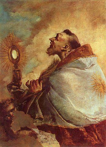 Saint Adoring the Eucharist