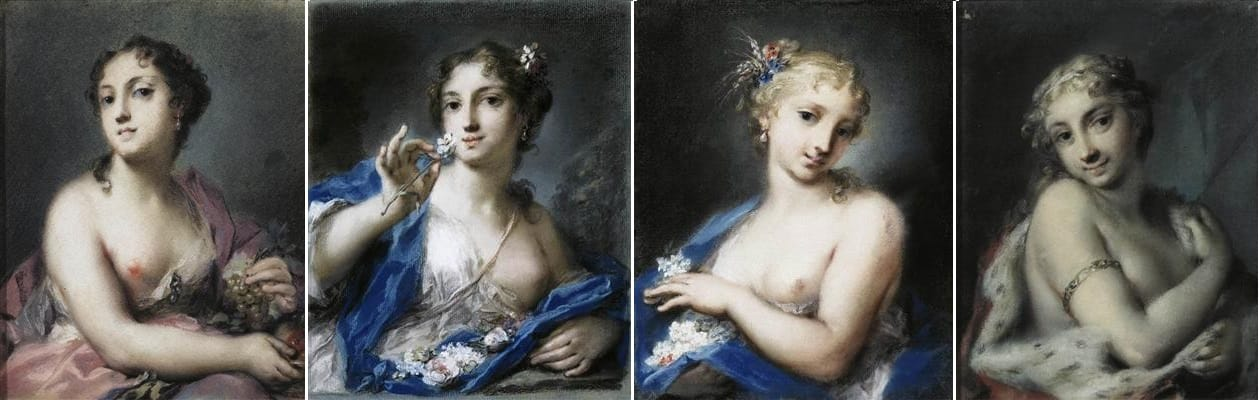 The Four seasons, Rosalba Carriera prominent and greatly admired portrait artist of the Venetian Rococo