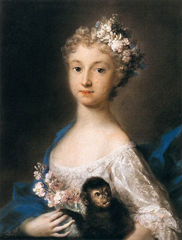 Young Girl Holding a Monkey, Rosalba Carriera