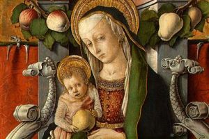 Carlo Crivelli, Madonna and child enthroned with donor - detail