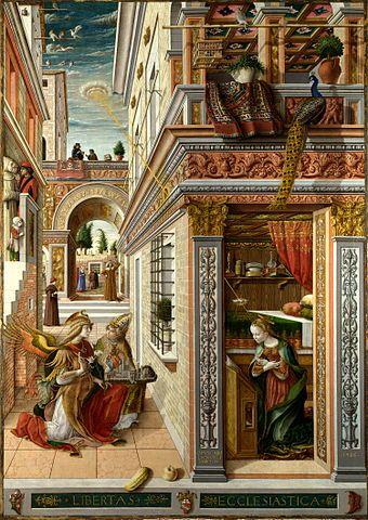 The Annunciation, with Saint Emidius, National Gallery, London