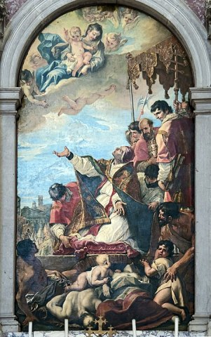 Pope Gregory I who invokes the Virgin for the end of the plague in Rome, 1700, Padua, Abbey of Santa Giustina