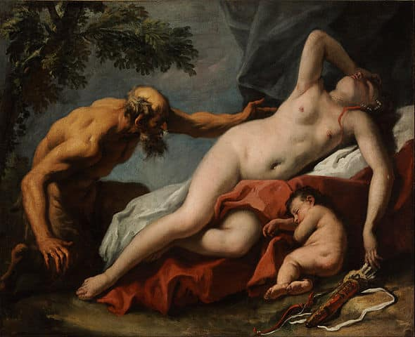 Venus and Satyr, 1716-1720, Museum of Fine Arts, Budapest. Painter Sebastiano Ricci, Venetian artist of the 17th and 18th century. Italian painter of the barcoque age
